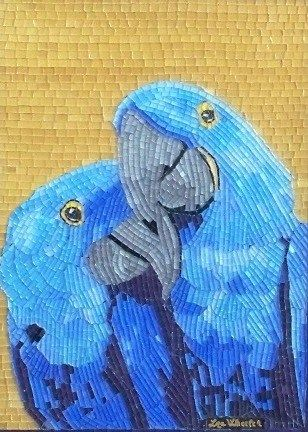 """Paradise"" - mosaic parrots by Liza Wheeler ~  Glass and natural gemstones (quartz, moonstone, jasper, agate and amethyst)."