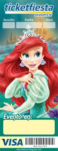 Plantilla invitación Ticketmaster Princesa Ariel
