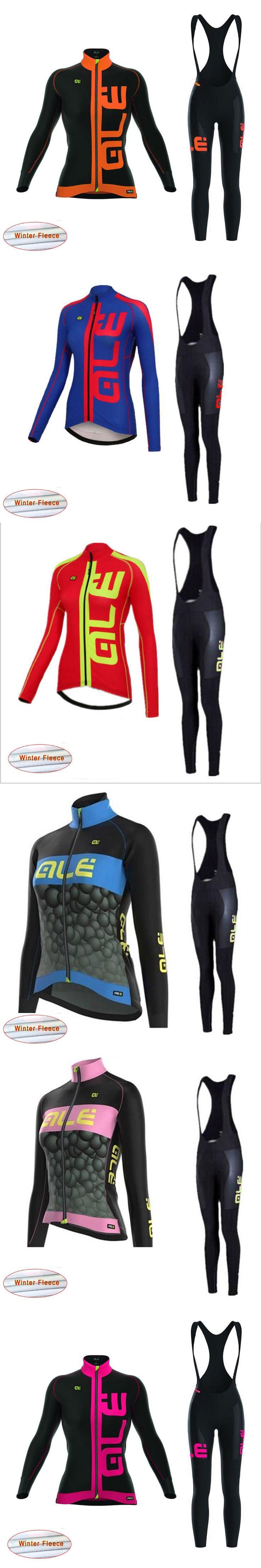 Pro Team ALE 2017 Women Long Sleeve Cycling Jersey Set Thermal Fleece Winter Bike Clothing Ropa Ciclismo China Bib Pants G23