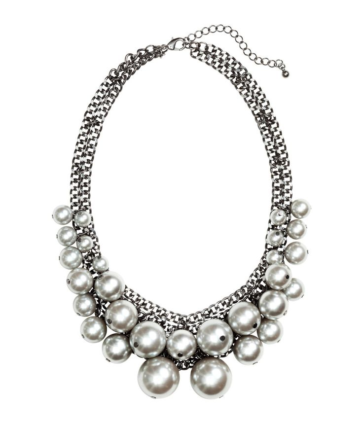 Metallic silver collar necklace with oversized beads and adjustable chain length. | H&M Accessories