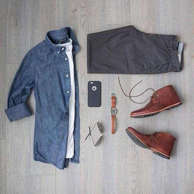 #SuitGrid by: @mitchyasui ________________________________________  Follow @inisikpe for daily style/advice #SuitGrid to be featured  IniIkpe.com for fashion updates and more ________________________________________ Tap For Brands Oxford Shirt: @bananarepublic T-Shirt: @calvinklein Trousers: @frankandoak Shoes: @timberland Watch: @timex x @redwinghe