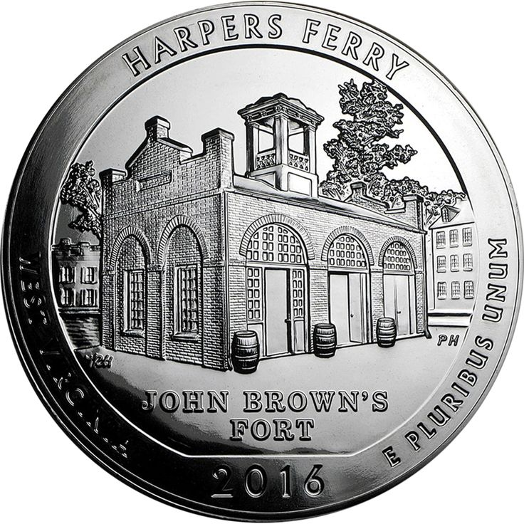 """The 2016 ATB Harpers Ferry 5oz Silver Coin is the third of 2016 and the 33rd overall in the 'America the Beautiful' series of coins and was designed by Thomas Hipschen. The coin's reverse is a depiction of John Brown Fort, the site of John Brown's last stand during his raid on the Harper's Ferry Armory. Inscripted upon the coin is """"HARPERS FERRY,"""" """"WEST VIRGINIA,"""" """"2016,"""" and """"E PLURIBUS UNUM.""""  The obverse of the coin depicts a portrait of George Washington by John Flanagan."""
