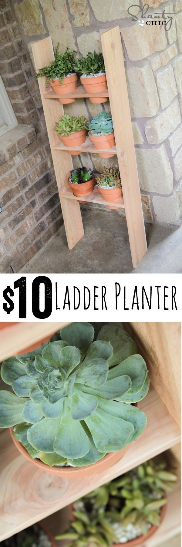 LOVE this DIY Ladder Planter... So cheap and easy! Free plans too! www.shanty-2-chic.com by Susan Ciaburri LaMarca