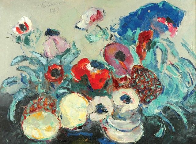 Włodzimierz TERLIKOWSKI (1873 - 1951)  Kwiaty olej, płótno, 46 x 61 cm; sygn. u góry: Terlikowski / 1948