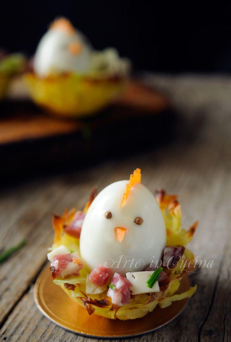 Cestini di patate per Pasqua con uova ricetta sfiziosa vickyart arte in cucina