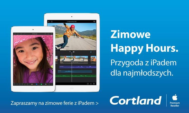 Dzieciaki zostały w domu na ferie?   Zabierz je do salonu Cortland, gdzie pod okiem eksperta Apple zostaną fotografem, opanują jazdę na deskorolce oraz spróbują swoich sił w jednej z łamigłówek, a wszystko to za pomocą iPada.  Zapraszamy od 26-30.01, codziennie w godzinach od 12-14.  Szczegóły dotyczące wydarzenia znajdą Państwo tutaj: https://www.cortland.pl/happy-hours.html