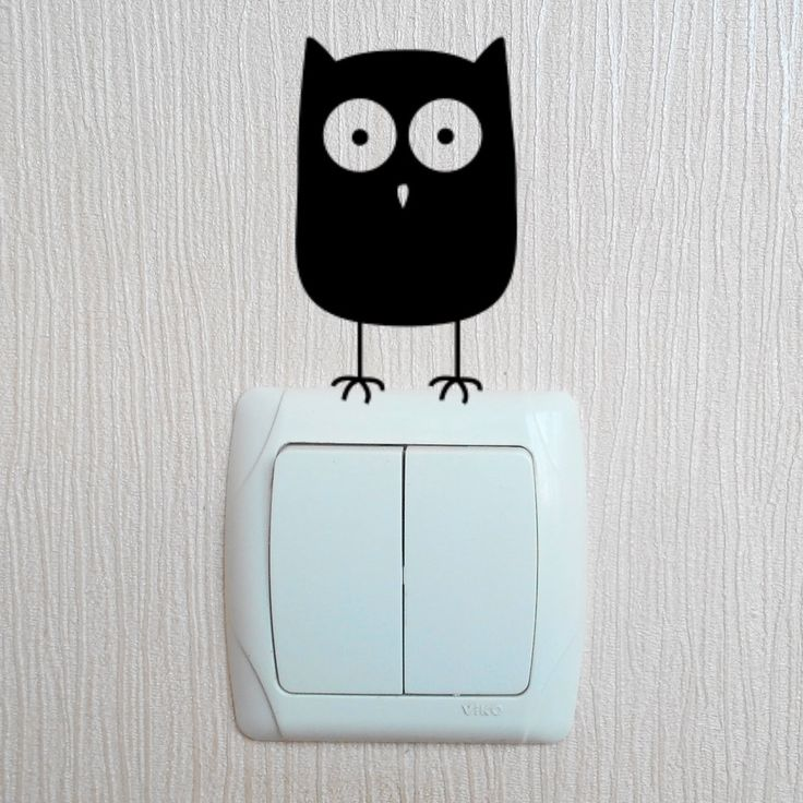 Cute owl light switch vinyl sticker decal by VBDecor on Etsy