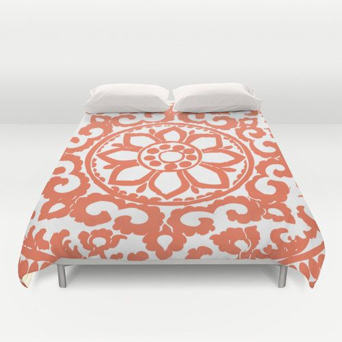 Art Deco Medallion Modern Duvet Cover - Coral and White - Abstract Flower Ornament - Queen Size Duvet Cover - King Size Duvet Cover