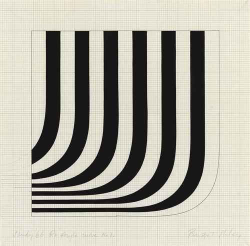 Bridget Riley (British, b. 1931), Study '66 R+Angle Curve No 1, 1966. Gouache and graphite on paper, 12 x 12 in.