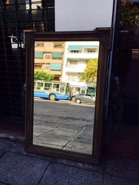 antiguo espejo de pie frances patinado original sano divino
