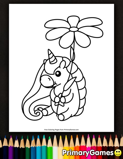 Unicorn Holding A Flower Coloring Page • FREE Printable ...