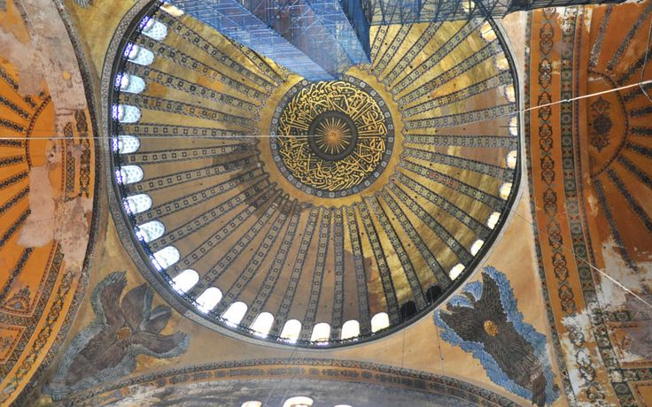 The height and breadth of the Hagia Sophia's dome that dominates the church's central space have awakened awe and admiration in visitors in all periods. The Christian world associated the construction of this bold dome with superhuman powers, and this belief , coupled with religious faith, made the Hagia Sophia the unrivalled symbol of medieval mysticism.