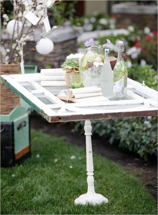 Window repurposed as table