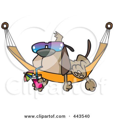 Royalty-Free (RF) Clip Art Illustrazione di un cartone animato cane oziare su una Hammock di Ron Leishman