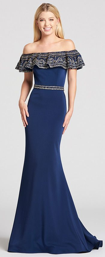 by Ellie Wilde. Off-the-shoulder stretch crepe trumpet dress with straight  neckline featuring a flounce ruffle around the top of the dress covered in  beads ... db2c22a0d