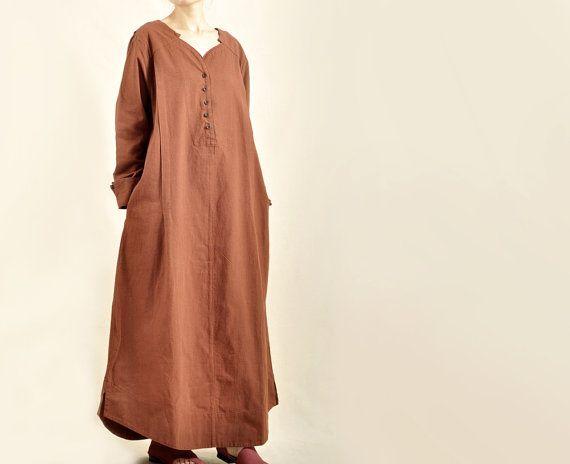 Fashion Women Solid Dark Red Maxi Dresses Long Sleeve Cotton Linen Fall/Spring Dress Heart Shape Neck Coat Travel Line Clothing