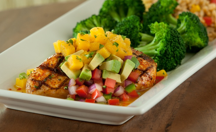 Mango-Chile Chicken -- Chile seasoned chicken topped with a spicy ...