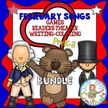 FEBRUARY SONGS *READERS THEATER*WRITING*COLORING*PRINTABLES*GAMES