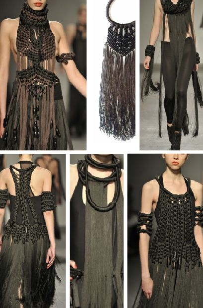 More Eleanor Amorosa inspirations - Sharpen your macramé skills and give reins to your imagination - think fringe belts, cape-collars, tops ...