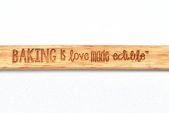 Laser engraved bamboo spatula baking is love by MissBoldDesign
