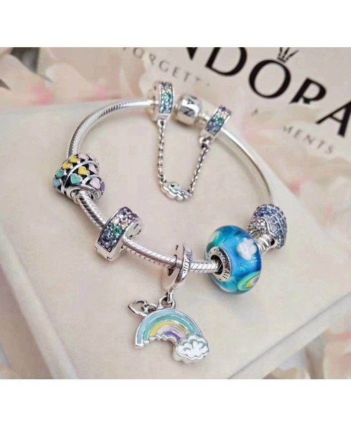 48c237d8f Pandora Birthday Wishes Dangle Sale. Enchanted Heart Love Charm Rainbow  Pendant Charm Bracelet