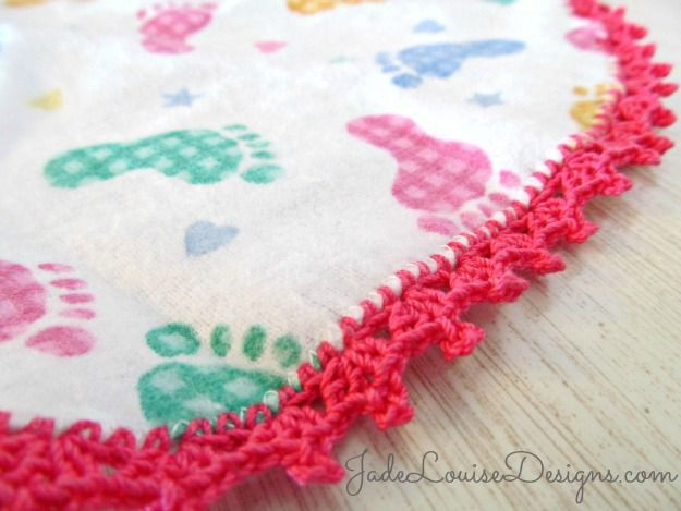 Crochet Baby Blanket Edging Tutorial : Crochet Edging Tutorial; How to Crochet Baby Burp Cloth ...