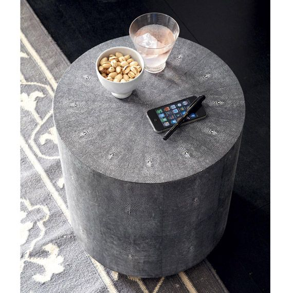 Faux Shagreen Drum Table - Onyx