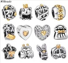 Venta caliente 925 Sterling Silver Charm 14KP estilo europeo de los encantos de plata para cadena de la serpiente de la pulsera DIY moda joyería(China (Mainland))