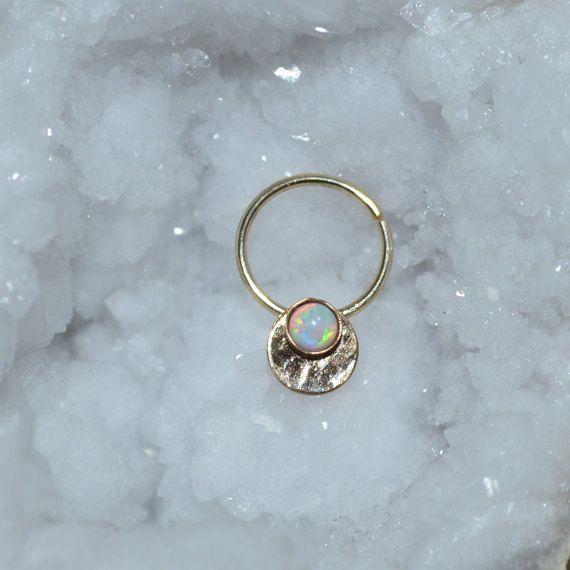 septum ring 3mm white opal gold nose ring nose hoop