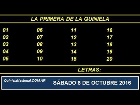 Quiniela - El Video oficial de la Quiniela La Primera Nacional del día Sabado 8 de Octubre de 2016. Info: www.quinielanacional.com.ar
