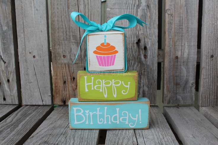 Happy Birthday Cupcake Primitive Chunky Wood Stacker / Table Decoration Blocks | etsy.com