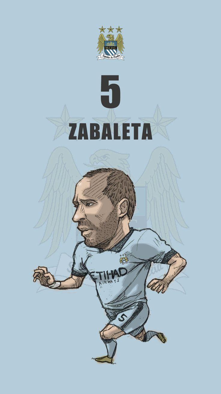 """Manchester city fan art for mobile wallpaper """"Pablo Zabaleta"""""""