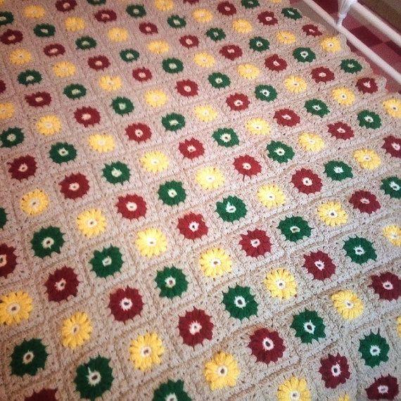 Autumn Spring Blanket Crocheted In Biscuit by Ladydarinefinecrafts