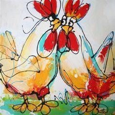 Bont gekleurde kippen op een groene ondergrond tegen een witte achtergrond. Door de gekozen schilderstijl is dit een fleurig schilderij met een speelse uitstraling.