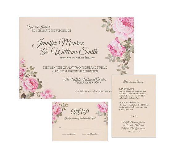 Wedding Invitation Suite Invite Romanic Peonies Pink Fls Elegant Spring Fl Peony