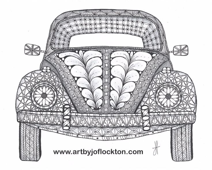 "Tangled VW Bug, $44, 8""x10"" using Ben Kwok's template (Ornation Creation) at www.artbyjoflockt..."