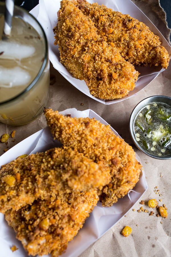 Cheddar Cornbread Chicken Fingers with Jalapeño Honey Butter | halfbakedharvest.com @hbharvest