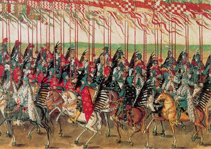 Polish hussars during entry into Kraków, detail of so-called Stockholm Roll, 1605.