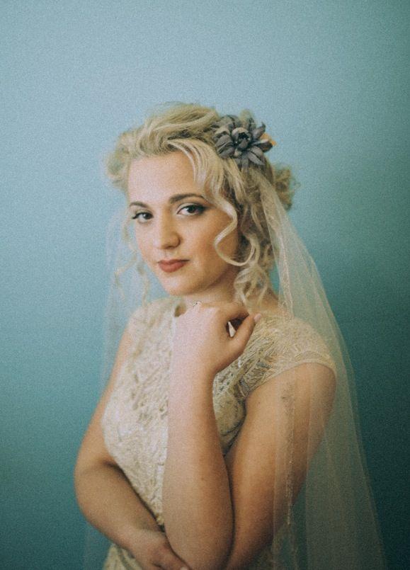 Laura in the Art Deco vintage inspired Gwendolynne 'Jasmine' wedding dress  - image: www.brownpaperparcel.com