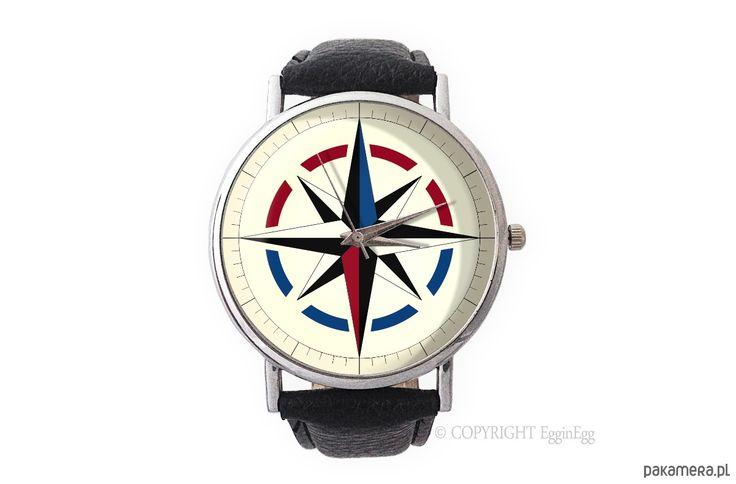 zegarki - damskie-Zegarek z dużą tarczką Kompas - 0971