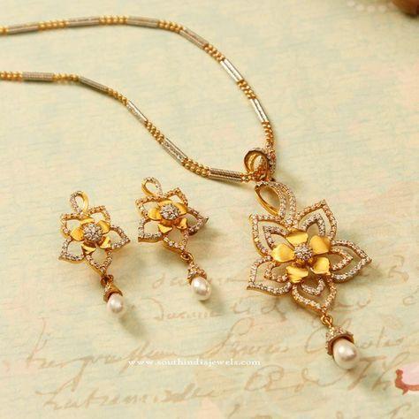 Latest Model Gold Chain Pendant Sets, Gold Chain Pendant Designs, Gold Chain with Pendants and Earrings.