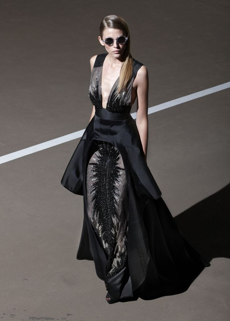 Floor length black evening gown with black detailing