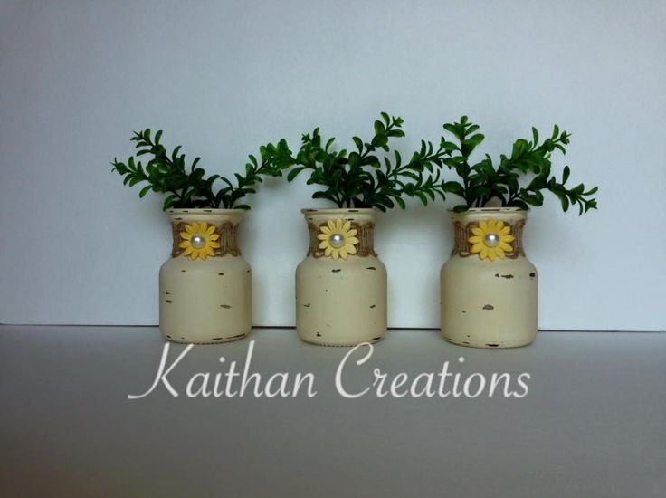 Mini Painted Milk Jars by Kaithan Creations. Set of 3 available in different colors to fit your home decor. Visit my Facebook page to see more creations and place your order.   https://www.facebook.com/kaithancreations/photos/a.313009498898804.1073741841.216663808533374/405295603003526/?type=3