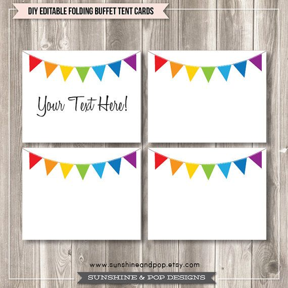 free editable tent cards and buffet labels rainbow bunting free party printables from sunshine. Black Bedroom Furniture Sets. Home Design Ideas