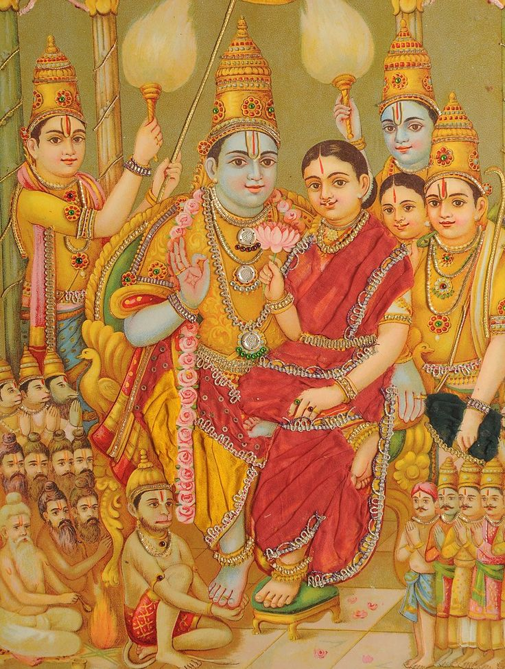 Buy Multicolor 1920s Framed Zari Oleograph Sri Rama Pattabhishekam by Raja Ravi Varma Paper Wood Online at Jaypore.com