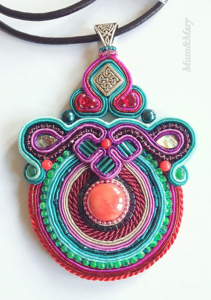 Soutache necklace Aztec by MumandMary on Etsy
