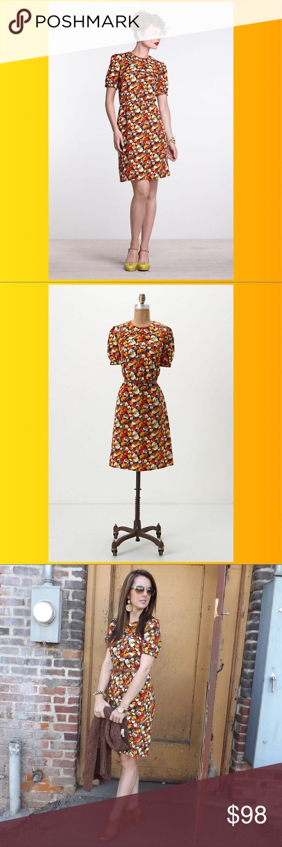 """Anthropologie Karen Walker Tiered Tulip Dress $168 🌈 Size 8. Hi There by Karen Walker from Anthropologie. Originally $168. Material is 100% polyester. Rear zipper. """"Finding inspiration in everything from vintage wallpaper to movie stills, New Zealand-based designer of the eponymous line Hi There from Karen Walker has us hooked on her primary-rich palette and retro-inspired prints. Cinched with a leather belt and topped with a peter-pan collar, this silky frock is an Anthropologie…"""