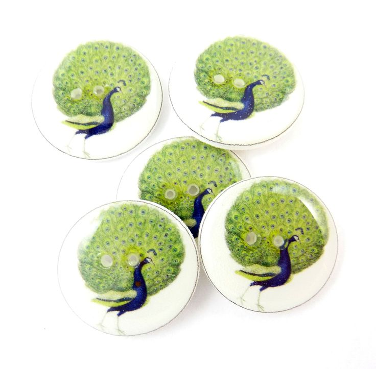 "5 Peacock Buttons.  3/4"" or 20 mm round.   Vintage Peacock Image Novelty Buttons.  Craft Buttons. by TimesNotForgotten on Etsy"