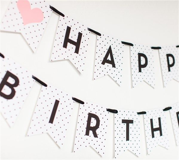 Printable Modern Glam Birthday Banner by The TomKat Studio. Make It Now with the Cricut Explore machine and Print then Cut feature in Cricut Design Space.