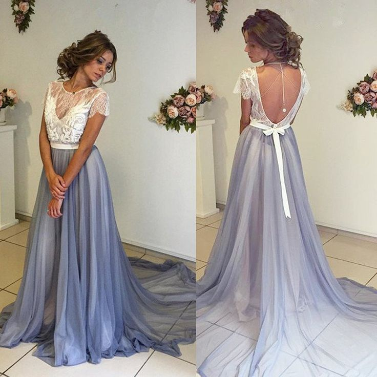 2017 White Lace Top Short Sleeve Backless Long A-line Chiffon Prom Dresses, BG0025